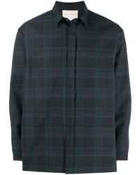 Мужская темно-сине-зеленая рубашка с длинным рукавом в шотландскую клетку от Stephan Schneider