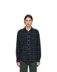 Мужская темно-сине-зеленая фланелевая рубашка с длинным рукавом в шотландскую клетку от Noon Goons