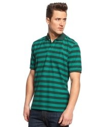 Темно-сине-зеленая футболка-поло в горизонтальную полоску