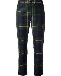 Темно-сине-зеленые узкие брюки в шотландскую клетку