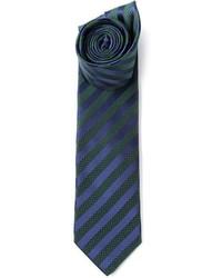 Темно-сине-зеленый галстук в вертикальную полоску