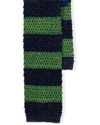 Темно-сине-зеленый галстук в горизонтальную полоску