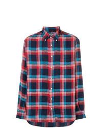 Темно-сине-красная рубашка с длинным рукавом в шотландскую клетку