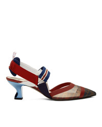Темно-сине-красные кожаные туфли от Fendi