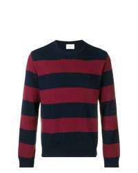 Темно-сине-красный свитер с круглым вырезом в горизонтальную полоску