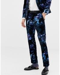 Мужские темно-синие бархатные классические брюки с цветочным принтом от Twisted Tailor