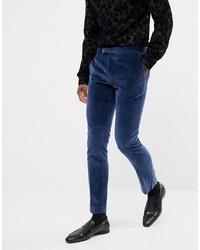 Темно-синие бархатные классические брюки