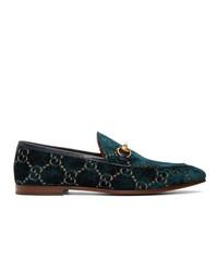 Мужские темно-синие бархатные лоферы с принтом от Gucci