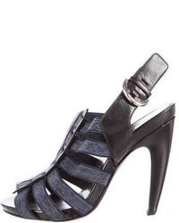 Темно-синие босоножки на каблуке из плотной ткани