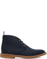 Темно-синие ботинки дезерты из плотной ткани