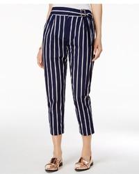 Темно-синие брюки-галифе в вертикальную полоску