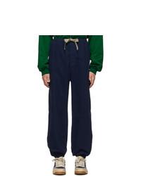 """Темно-синие брюки карго с узором """"в ёлочку"""" от Gucci"""