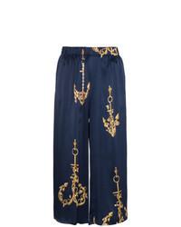 Темно-синие брюки-кюлоты с принтом