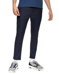 Темно-синие брюки чинос в вертикальную полоску