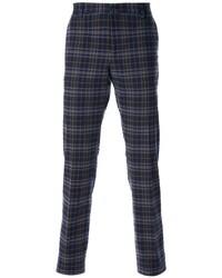 Темно-синие брюки чинос в шотландскую клетку