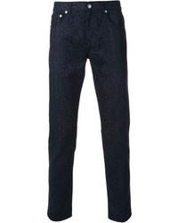 Темно-синие брюки чинос с принтом