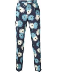 Темно-синие брюки чинос с цветочным принтом
