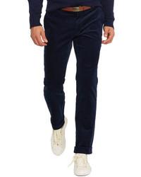 Темно-синие вельветовые классические брюки