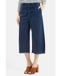 Темно-синие джинсовые брюки-кюлоты