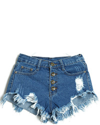 Темно-синие джинсовые рваные шорты