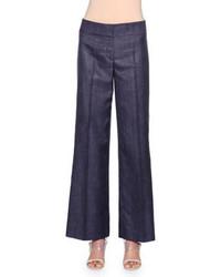 Темно-синие джинсовые широкие брюки
