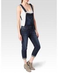 Темно-синие джинсовые штаны-комбинезон