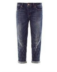 Темно-синие джинсы-бойфренды