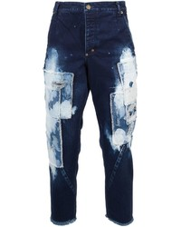 Темно-синие джинсы в стиле пэчворк
