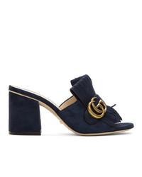 Темно-синие замшевые босоножки на каблуке от Gucci