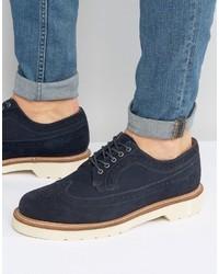 Темно-синие замшевые ботинки броги