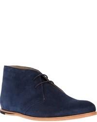 Темно-синие замшевые ботинки дезерты