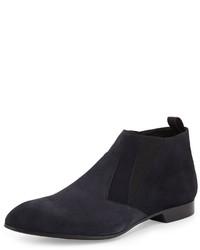 Темно-синие замшевые ботинки челси