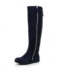 Женские темно-синие замшевые ботфорты от Valley