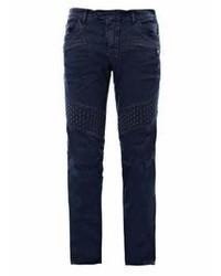 Темно-синие зауженные джинсы