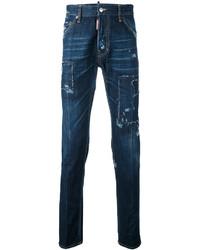 Мужские темно-синие зауженные джинсы от DSQUARED2