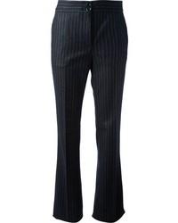 Темно-синие классические брюки в вертикальную полоску