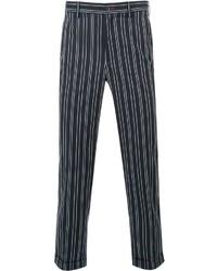 Мужские темно-синие классические брюки в вертикальную полоску