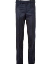 Мужские темно-синие классические брюки в вертикальную полоску от Alexander McQueen