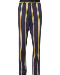 Мужские темно-синие классические брюки в вертикальную полоску от Ami