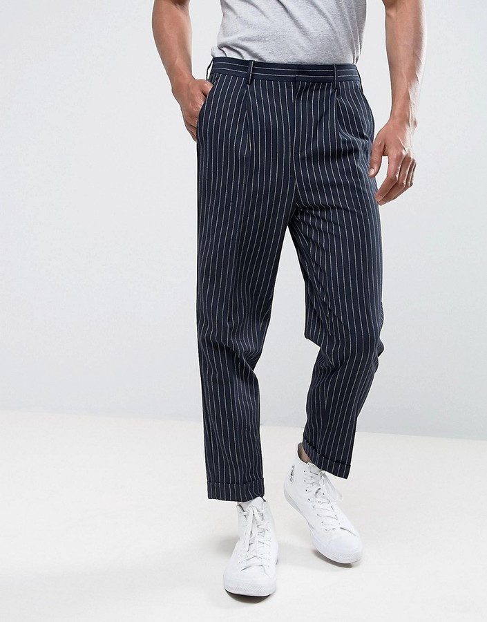 Мужские темно-синие классические брюки в вертикальную полоску от Asos
