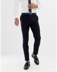 Мужские темно-синие классические брюки в вертикальную полоску от AVAIL London