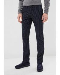 Мужские темно-синие классические брюки в вертикальную полоску от BAWER