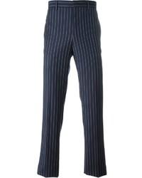 Мужские темно-синие классические брюки в вертикальную полоску от Givenchy