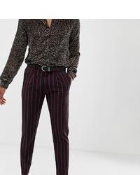 Мужские темно-синие классические брюки в вертикальную полоску от Heart & Dagger