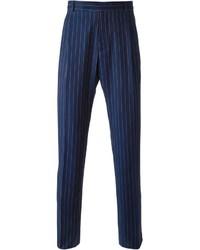 Мужские темно-синие классические брюки в вертикальную полоску от J.W.Anderson