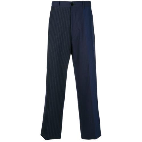 Мужские темно-синие классические брюки в вертикальную полоску от Marni