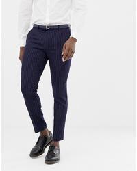 Мужские темно-синие классические брюки в вертикальную полоску от MOSS BROS