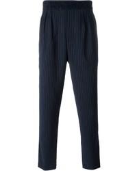Мужские темно-синие классические брюки в вертикальную полоску от Paolo Pecora