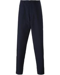 Мужские темно-синие классические брюки в вертикальную полоску от Raf Simons