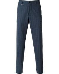 Темно-синие классические брюки в клетку